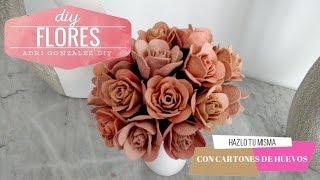 DIY FLORES CON CARTON DE HUEVOS - MANUALIDADES CON CARTONES DE HUEVOS