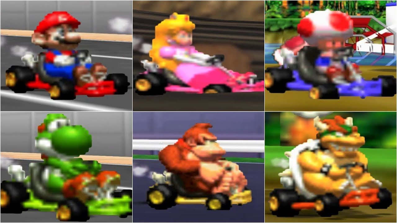 Mario Kart 64 All Characters Race Gameplay Compilation 4k60fps