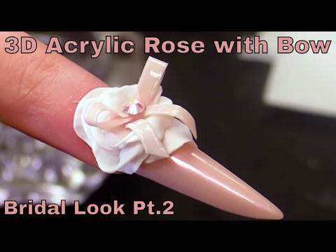 Alternative Bridal Nail Design creating a 3D flower with a Bow - Gothic Almond Shape