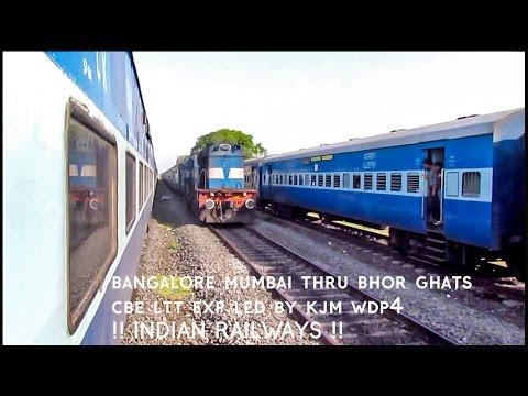 BANGALORE to MUMBAI via BHOR GHATS, Scissors crossing, Shatabdi double attack  : Indian Railways !!