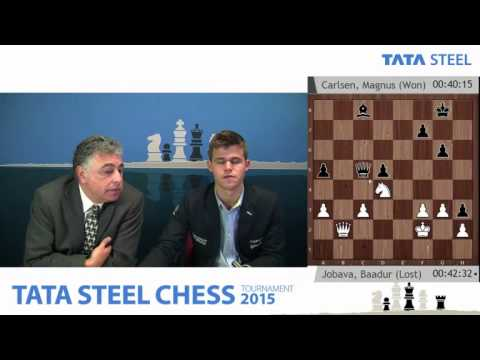 Magnus Carlsen analysis his nice win against Baadur Jobava  - Tata Steel Chess Tournament 2015