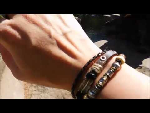 Native American Feather Leather Bracelet