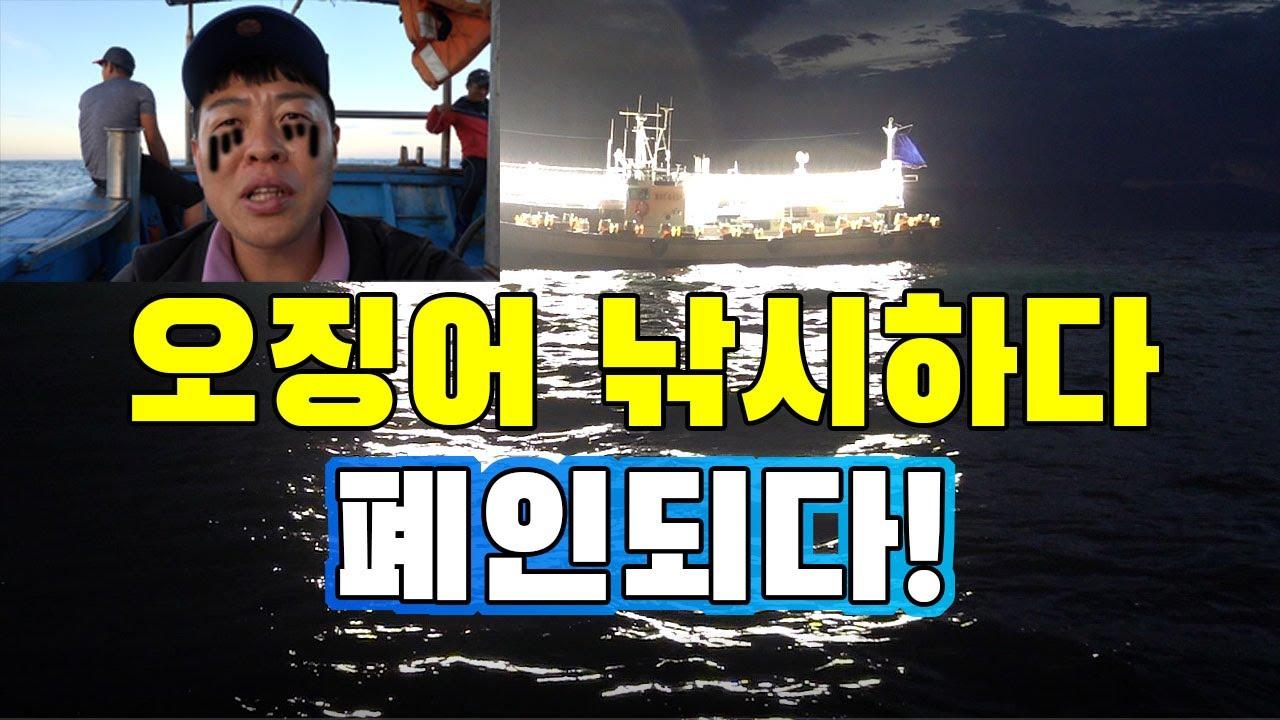 오징어가 오징어를 잡는다? 현지인의 오징어사냥!!!! /Take a boat and go out to sea to catch a squid.