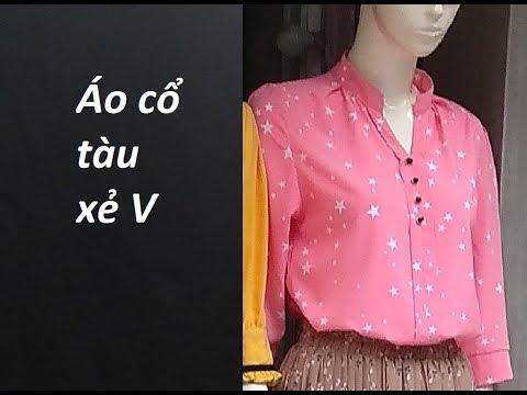 Hướng Dẫn Cắt áo Cổ Tàu, Xẻ V Nẹp Bong. How To Make Women's Shirts.