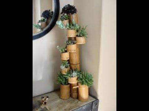 tempat pot bunga dari bambu - pagar rumah