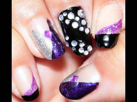 Silver Purple And Black Nail Design Tutorial Youtube