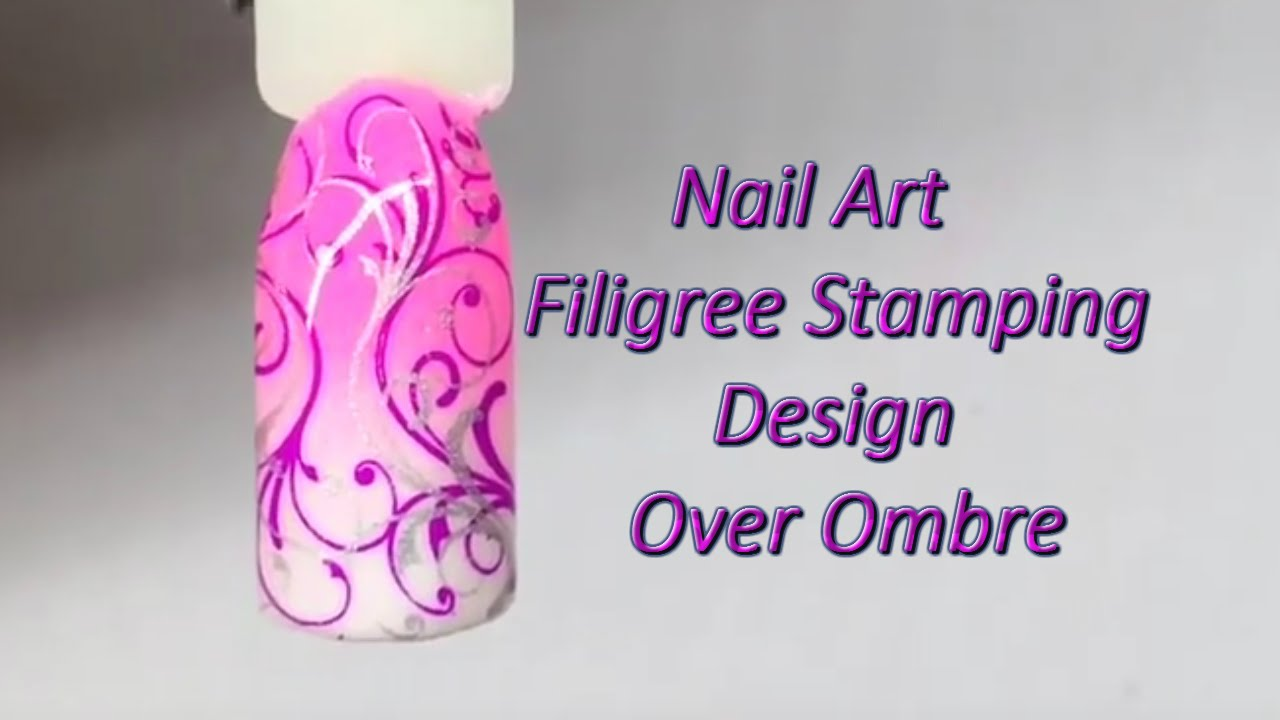 Ombre Design filigree stamping design over ombre - nail art tutorial - youtube