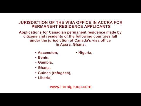Jurisdiction of the visa office in Accra for permanent residence applicants