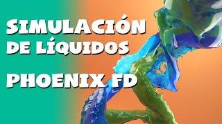 Tutorial fluidos Phoenix FD en español - Mezcla de 2 líquidos
