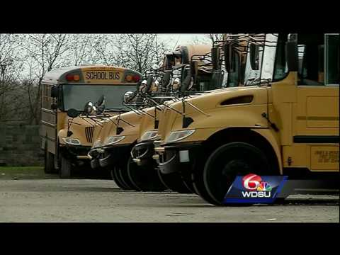 School bus drivers for Algiers Charter Schools discover batteries missing from fleet