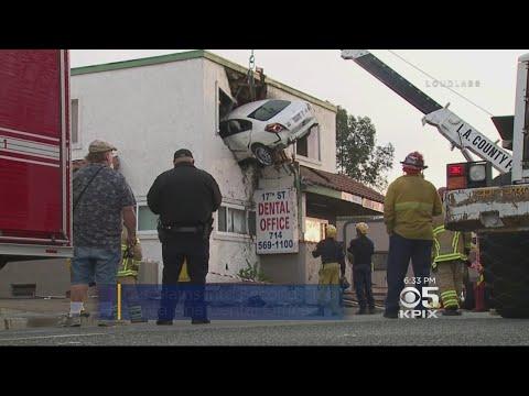 Car Crashes Into Second Story Of Santa Ana Dental Office