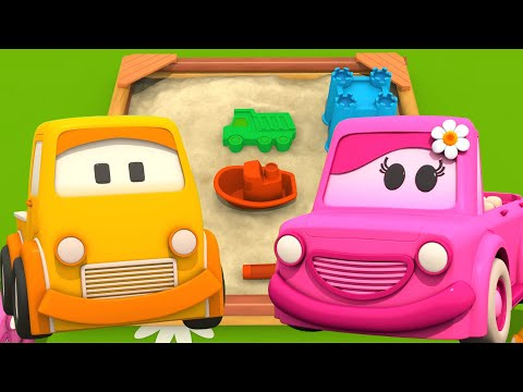 Hiekkalaatikkoleikkejä lapsille. Opi muotoja. Välkyt Autot -animaatiosarja.