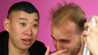 Balding Men Try Spray On Hair