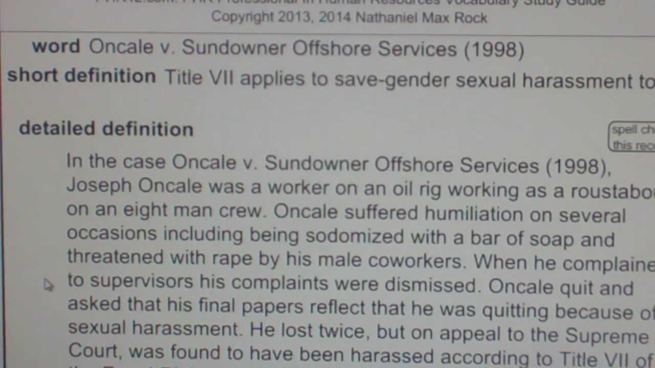Oncale v sundowner offshore services 1998 phr sphr human sundowner offshore services 1998 phr sphr human resources license exam vocabubee xflitez Choice Image