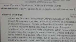Oncale v. Sundowner Offshore Services (1998) PHR SPHR Human Resources License Exam VocabUBee.com