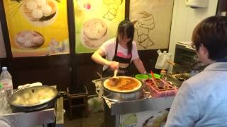 """Delicious Chinese Street Food - Chinese Pancakes """"jian Bing"""" (煎饼) In Chinatown, London."""