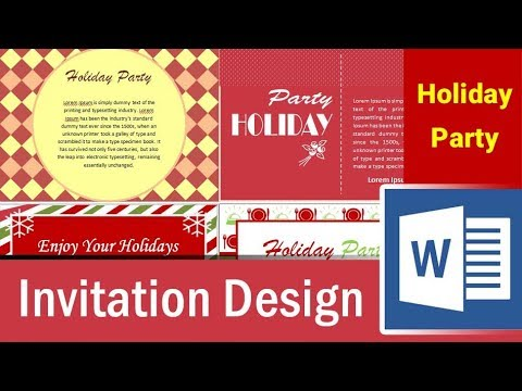 6 holiday party invitation design in Microsoft Word - Part 6 - YouTube