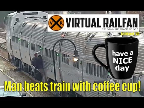 Man Beats Train With Coffee Tumbler! Ashland, VA.