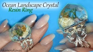 How to; Ocean inspired Landscape Resin Ring Tutorial