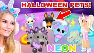 Turning ALL NEW HALLOWEEN PETS *NEON* In Adopt Me! (Roblox)