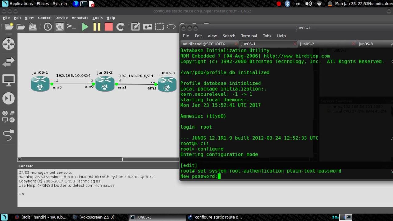 static route in juniper router