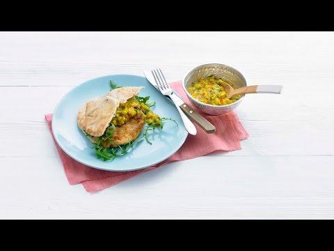Kip met houmous, naanbrood en mangosalsa - Allerhande