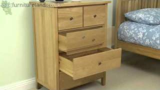 Chaucer Solid Oak Tall Chest of Drawers From Oak Furniture Land