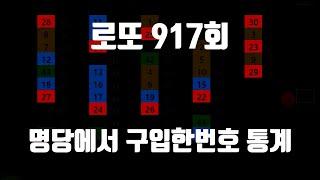 로또 917회 명당에서 구입한 번호들의 통계 반자동 공…