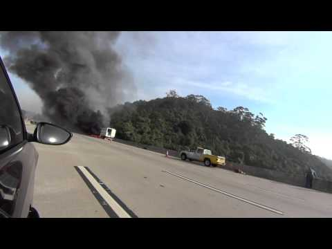 Delivery truck on fire on a road around Sao Paulo, Brazil