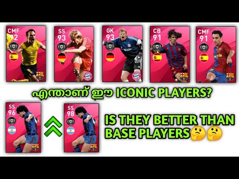 WHAT IS ICONIC PLAYERS? IS THEY BETTER THAN BASE PLAYERS 🤔| DETAILED REVIEW IN MALAYALAM//