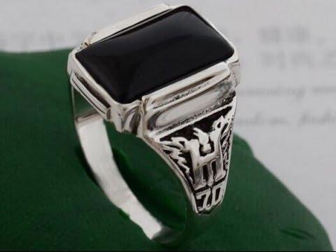 Мужское серебряное кольцо с натуральным камнем Агат.