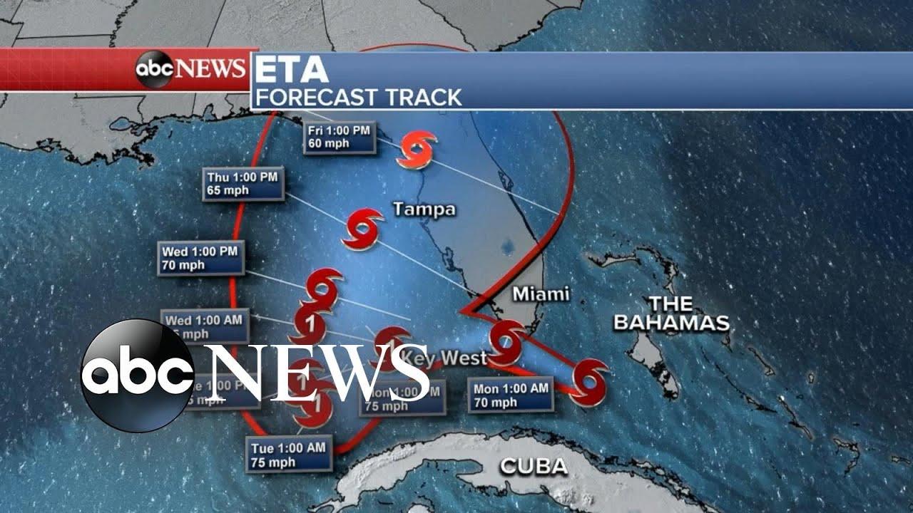 Tropical Storm Eta Heads Toward South Florida After Strengthening