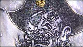 Silver Dollar Pirate Blackbeard 24ct Gold Inlay Skull Hobo Nickel by Shaun Hughes Reworked