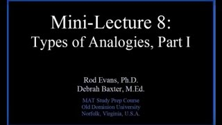 MAT Mini-Lecture 8: Analogies, Part I