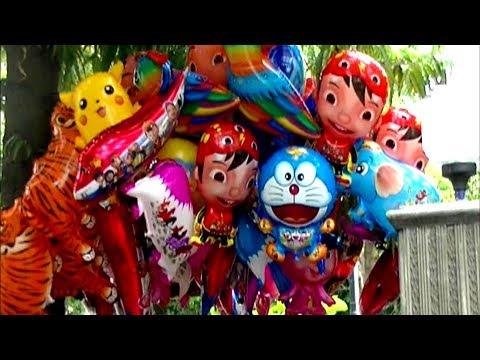 DrumBand Balonku Ada Lima - Mainan Anak Balon Karakter Pokemon, Doraemon, Spongebob, Upin Ipin
