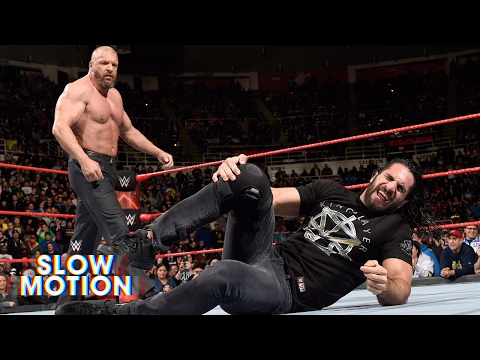 Visceral slow-motion video of Seth Rollins' Raw brawl with Triple H: March 13, 2017