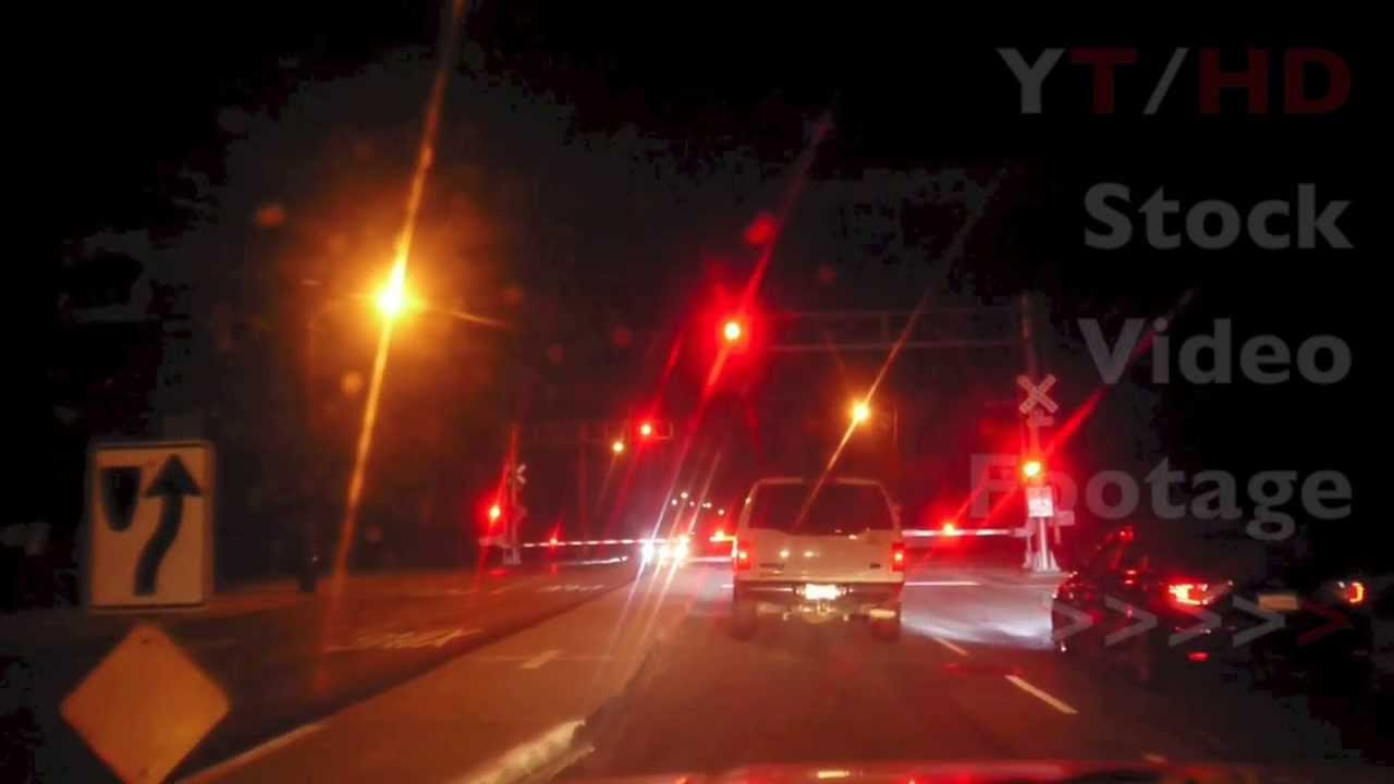 Train Railroad Crossing Lights Blinking Red w Arms Going Up For