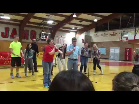 Classmate and Teacher Do a Duet together East Tipp Middle School 2016