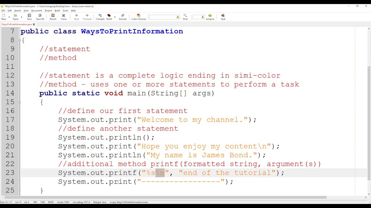 Java Tutorial 03 Using Print Println Methods