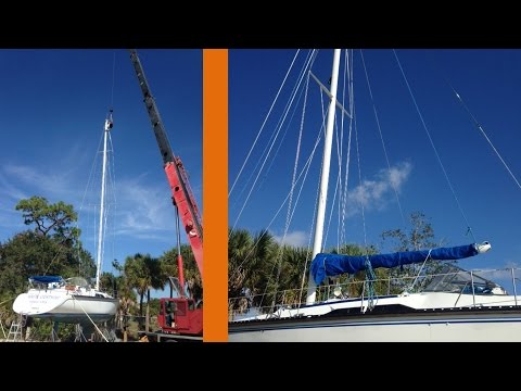 Sailing Moxie - Rigging Work and Stepping the Mast