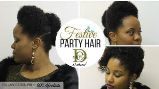 Festive Party Natural Hair Updo Styles with Design Essentials