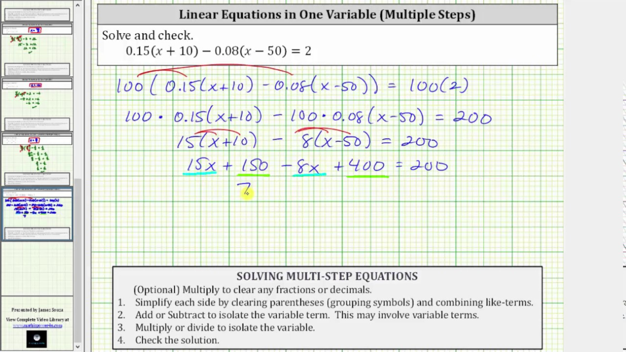 How to solve linear equations with parentheses