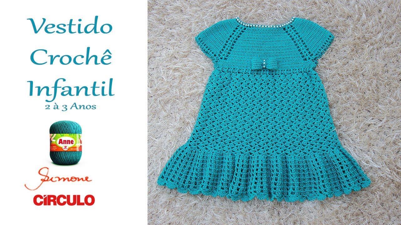 Vestido Em Crochê Infantil 2 á 3 Anos Simone Eleotério