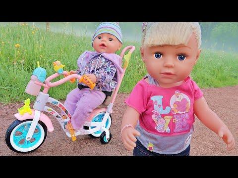 Куклы Беби Бон Настя и Рома купили велосипед. Пупсики катаются. Зырики ТВ Детский Канал