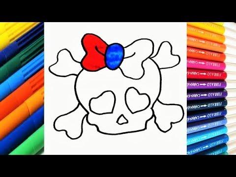 Como dibujar y Colorear una Calavera de Arco Iris paso a paso ...
