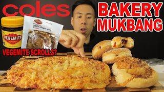 [MUKBANG] COLES BAKERY-VEGEMITE SCROLLS-MASSVIE HAWAIIAN PIZZA BREAD AND JAM FILLED DOUGNUTS