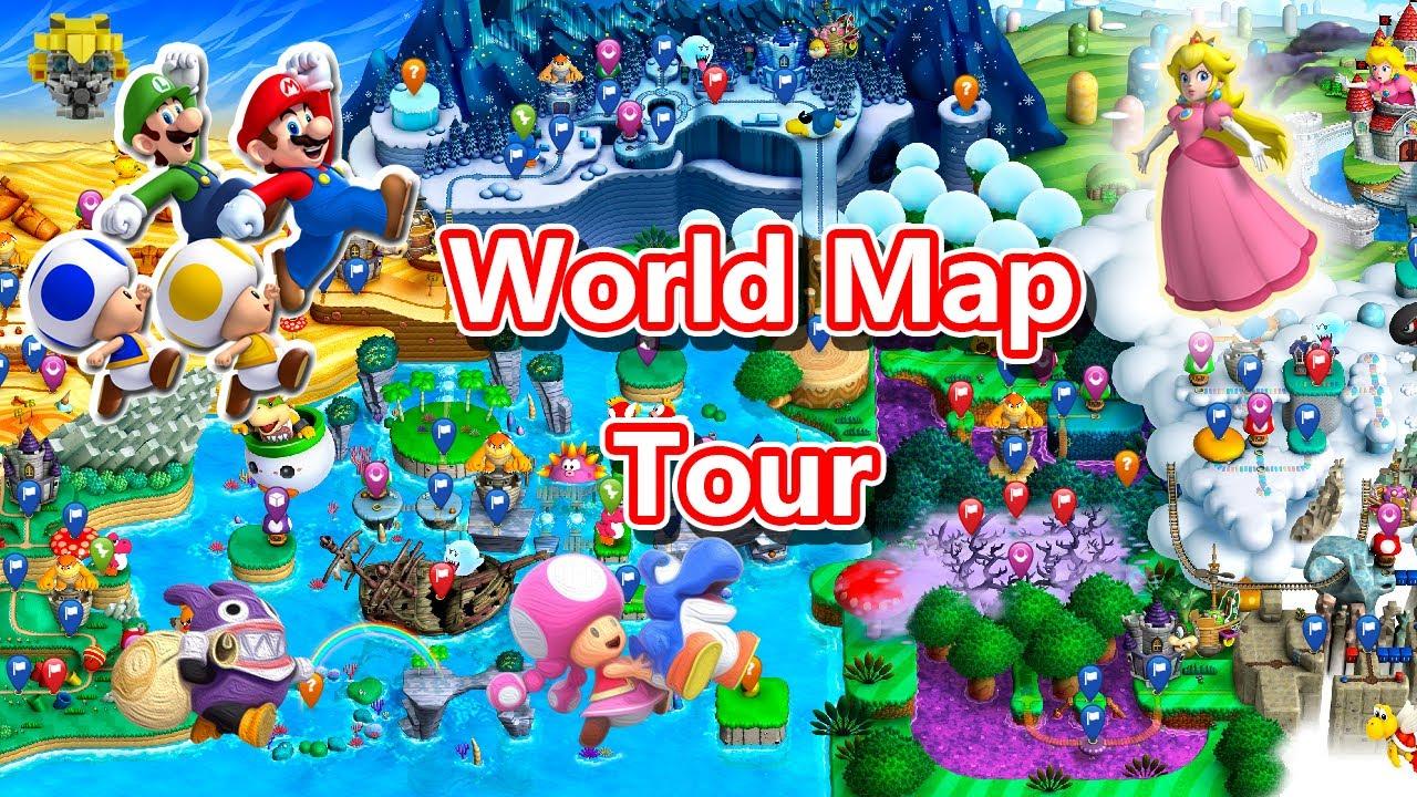 World Map Tour New Super Mario Bros U Deluxe 隱藏路線世界地圖之