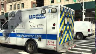 RARE CATCH OF WESTCHESTER COUNTY EMS AMBULANCE TRANSPORTING ON AMSTERDAM AVE. IN MANHATTAN, NYC.