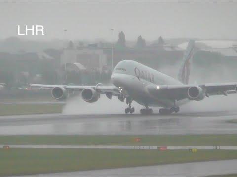 Rainy Plane Spotting *Wet Runway Heavy Takeoffs*London Heathrow  Inc. All Blacks Livery, 5xA380 ☔️✈️