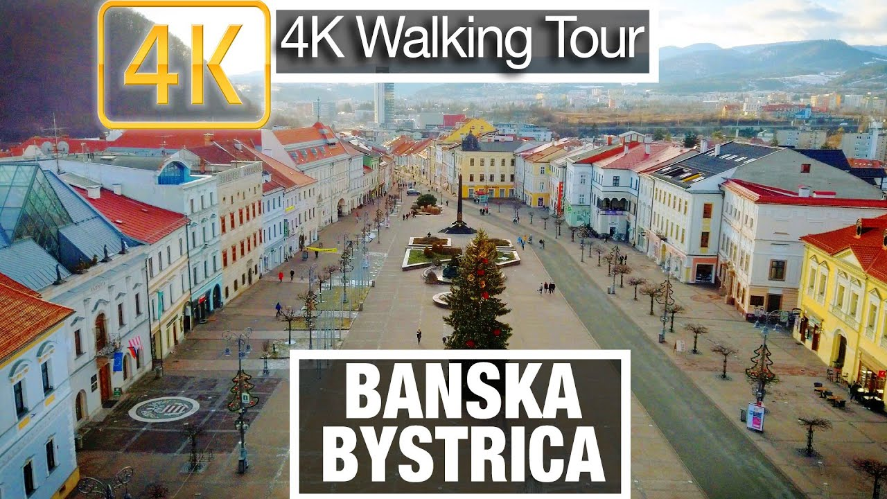 4K City Walks: Slovakia - Banska Bystrica, Museums and Nature - Virtual Walk Treadmill City Guide